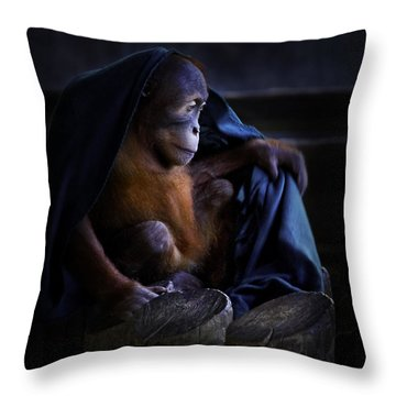 Orang Utan Youngster With Blanket Throw Pillow
