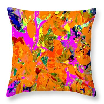 Throw Pillow featuring the digital art Orange Abstract by Barbara Moignard