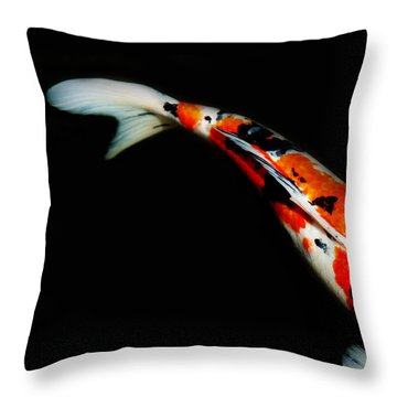Orange And Black Koi Throw Pillow