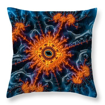 Orange And Blue Abstract Fractal Art Throw Pillow by Matthias Hauser