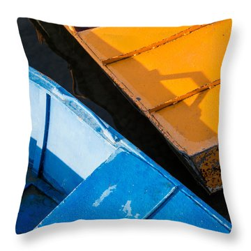 Orange And Blue Throw Pillow by Davorin Mance