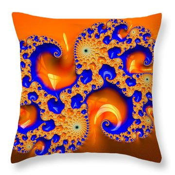 Orange And Blue Fractal Spirals Throw Pillow by Matthias Hauser