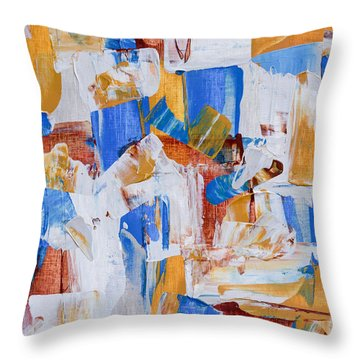Throw Pillow featuring the painting Orange And Blue by Heidi Smith