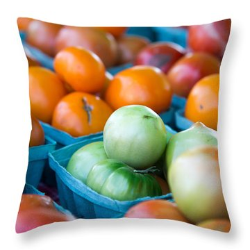 Orange And Green Tomatoes Throw Pillow