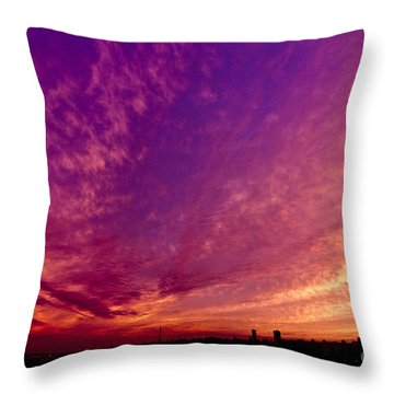 Orange And Purple Clouds Sunset View From The Balcony Throw Pillow