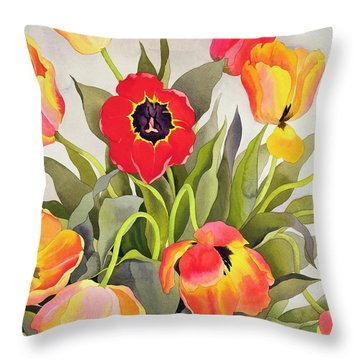 Orange And Red Tulips  Throw Pillow by Christopher Ryland