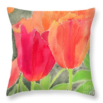 Orange And Red Tulips Throw Pillow