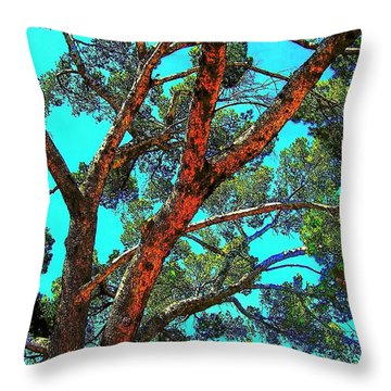 Orange And Turquoise  Throw Pillow by Jodie Marie Anne Richardson Traugott          aka jm-ART