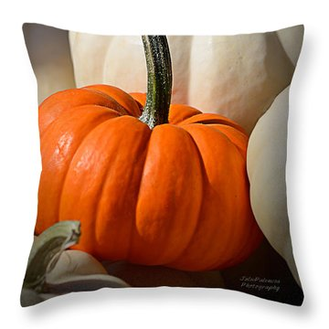 Orange And White Pumpkins Throw Pillow