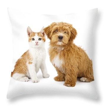Orange And White Puppy And Kitten Throw Pillow by Susan Schmitz