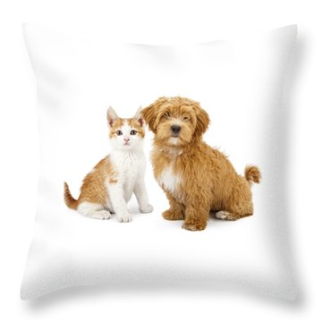 Orange And White Puppy And Kitten Throw Pillow
