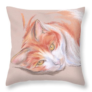 Orange And White Tabby Cat With Gold Eyes Throw Pillow