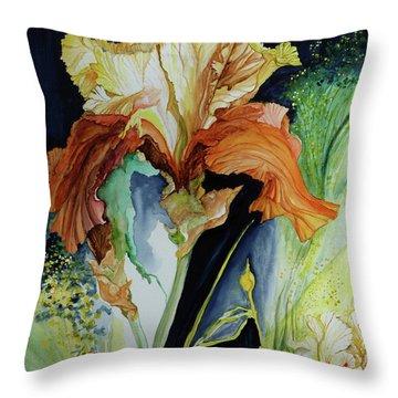 Orange And Yellow Iris Throw Pillow by Rachel Lowry