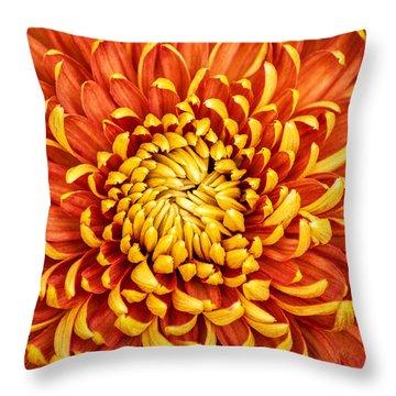 Orange And Yellow Mum Throw Pillow
