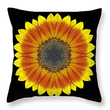 Throw Pillow featuring the photograph Orange And Yellow Sunflower Flower Mandala by David J Bookbinder