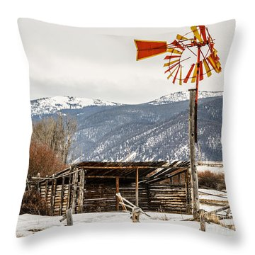 Orange And Yellow Windmill Throw Pillow by Sue Smith