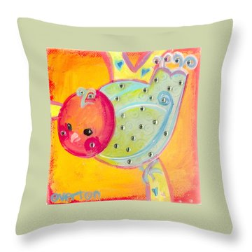 Orange Birdy Throw Pillow