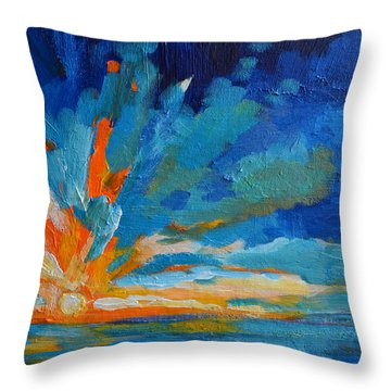 Orange Blue Sunset Landscape Throw Pillow