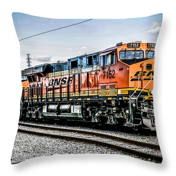 Orange Bnsf C44-9w Locomotive Throw Pillow