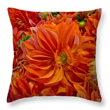 Orange Bouquet Throw Pillow by Arlene Carmel