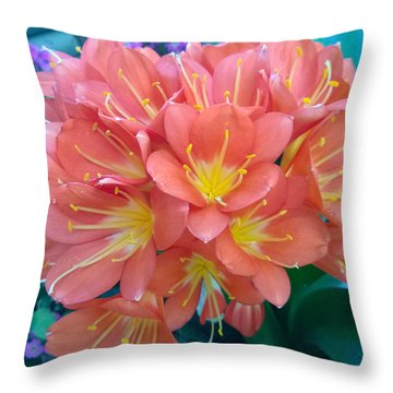 Orange Bouquet Throw Pillow by Claudia Goodell
