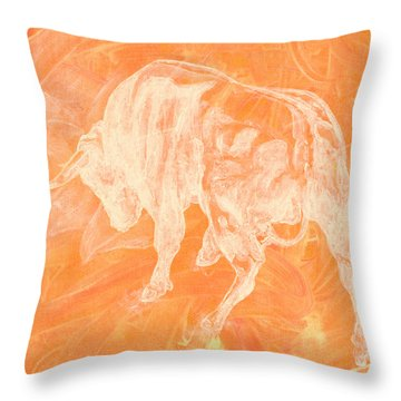 Orange Bull Negative Throw Pillow