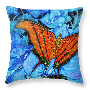 Throw Pillow featuring the painting Orange Butterfly by Debbie Chamberlin