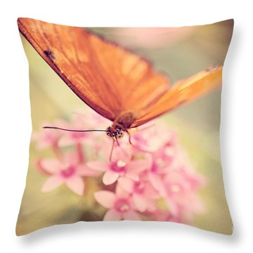 Orange Butterfly Throw Pillow by Erin Johnson