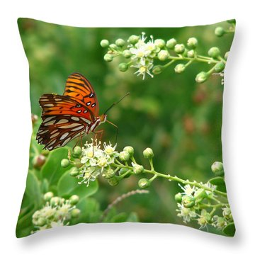 Throw Pillow featuring the photograph Orange Butterfly by Marcia Socolik