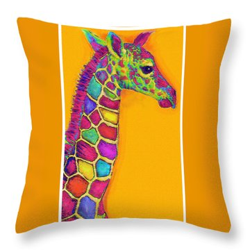 Orange Carosel Giraffe Throw Pillow by Jane Schnetlage