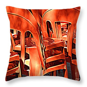 Orange Chairs Throw Pillow