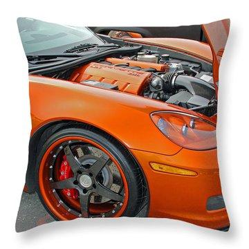 Orange Chevy Corvette Throw Pillow