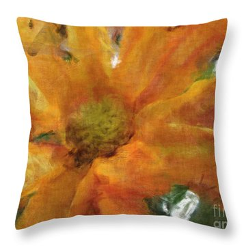 Orange Chrysanthemem Photoart Throw Pillow by Debbie Portwood