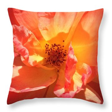 Orange Confection Rose Throw Pillow by Anna Porter