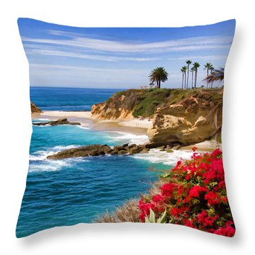 Orange County Coastline Throw Pillow