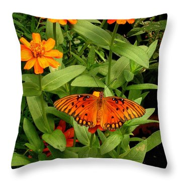 Orange Creatures Throw Pillow by Rodney Lee Williams
