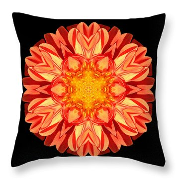 Orange Dahlia Flower Mandala Throw Pillow by David J Bookbinder
