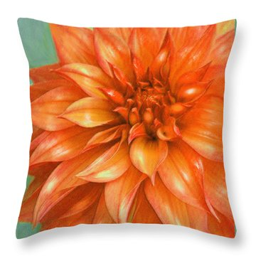 Throw Pillow featuring the digital art Orange Dahlia by Jane Schnetlage
