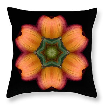 Throw Pillow featuring the photograph Orange Daylily Flower Mandala by David J Bookbinder