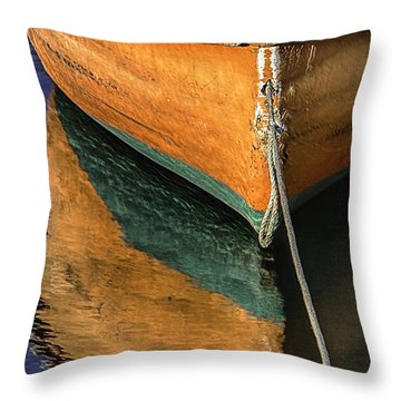 Throw Pillow featuring the photograph Orange Dinghy In Warm Sun by Betty Denise