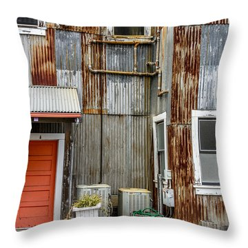 Orange Door Throw Pillow