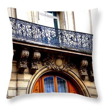 Orange Door Throw Pillow by Debi Demetrion