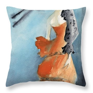 Orange Evening Gown With Black Fashion Illustration Art Print Throw Pillow