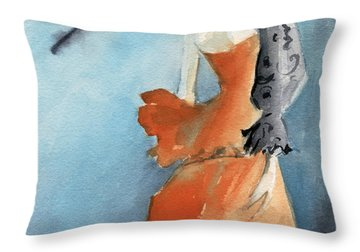 Orange Evening Gown With Black Fashion Illustration Art Print Throw Pillow by Beverly Brown Prints