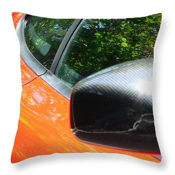 Throw Pillow featuring the photograph Orange Ferrari  by Jeff Lowe