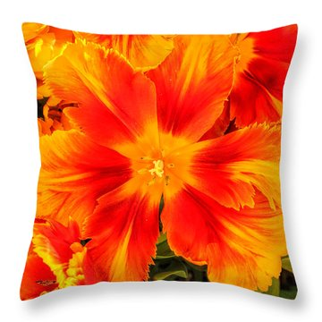 Orange Flames Throw Pillow