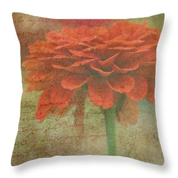 Orange Floral Fantasy Throw Pillow by Kay Novy