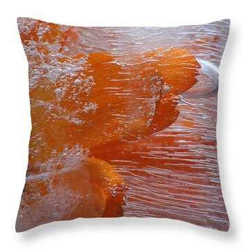 Orange Flower Throw Pillow by Randi Grace Nilsberg