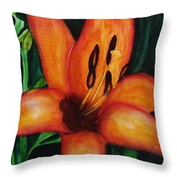 Beautiful Lily Flower Throw Pillow
