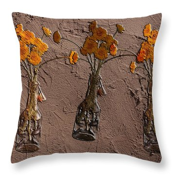 Orange Flowers Embedded In Adobe Throw Pillow